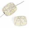 Resin Beads 19x14mm Barrel Crackle Ivory